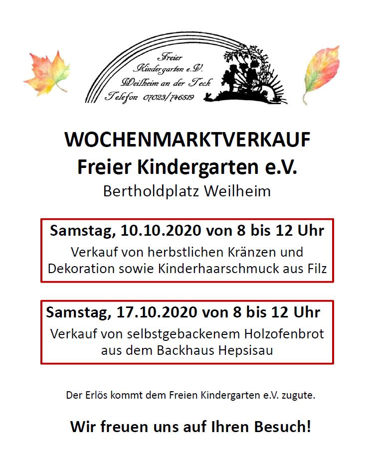 Wochenmarktverkauf Weilheim Kindergarten